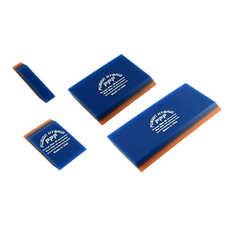 "Fusion PPF Hybrid 4"" special 2 ply squeegee, bevel, orange has 85 durometer, blue 94 durometer, 10 cm"